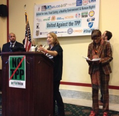 Zahara Heckscher at Rosa DeLauro Press Conference about TPP and State of the Union, January 2015